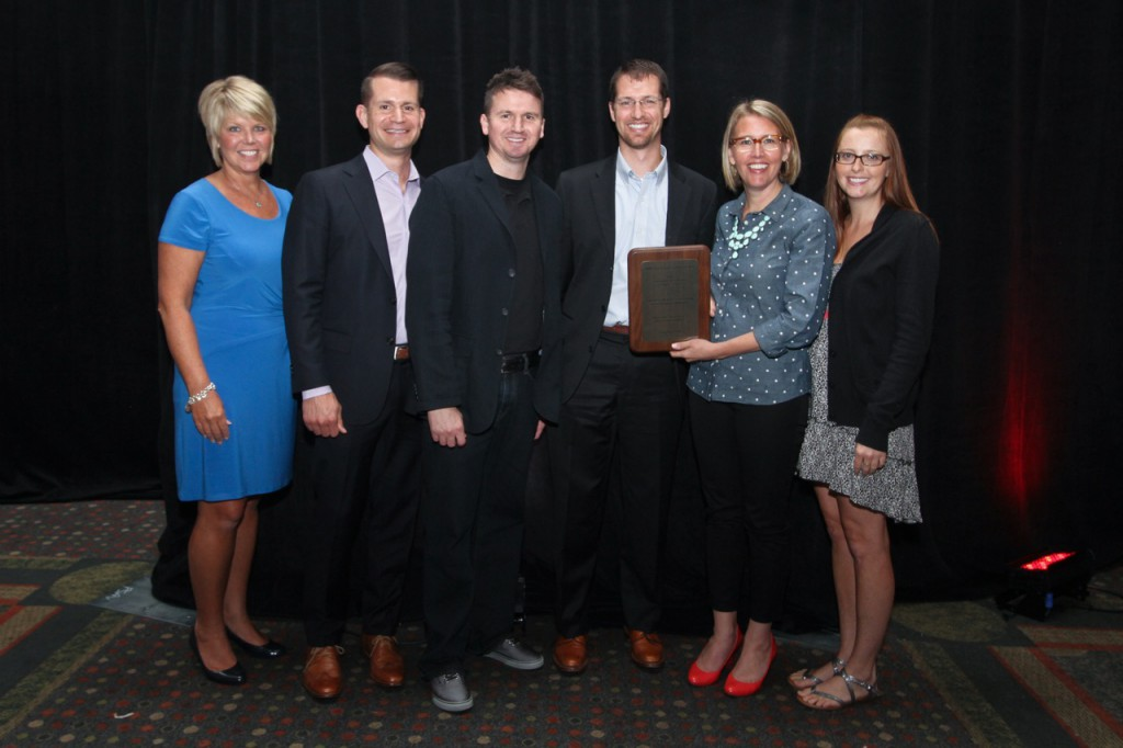 Outstanding committee: (From left) Ms. Kathy Ridley, Mr. Bryce Larson, Dr. Brenden Moon, Dr. Andy Wiers, Dr. Jill McMahon and Dr. Samantha Arnold, staff and members of the Illinois State Dental Society New Dentist Committee, hold up their plaque for the Outstanding New Dentist Committee.