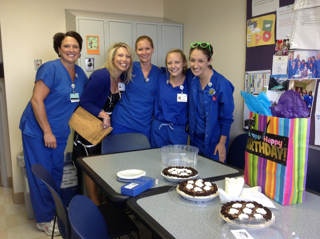 Dr. Green (far left) celebrates her 30th birthday with coworkers.