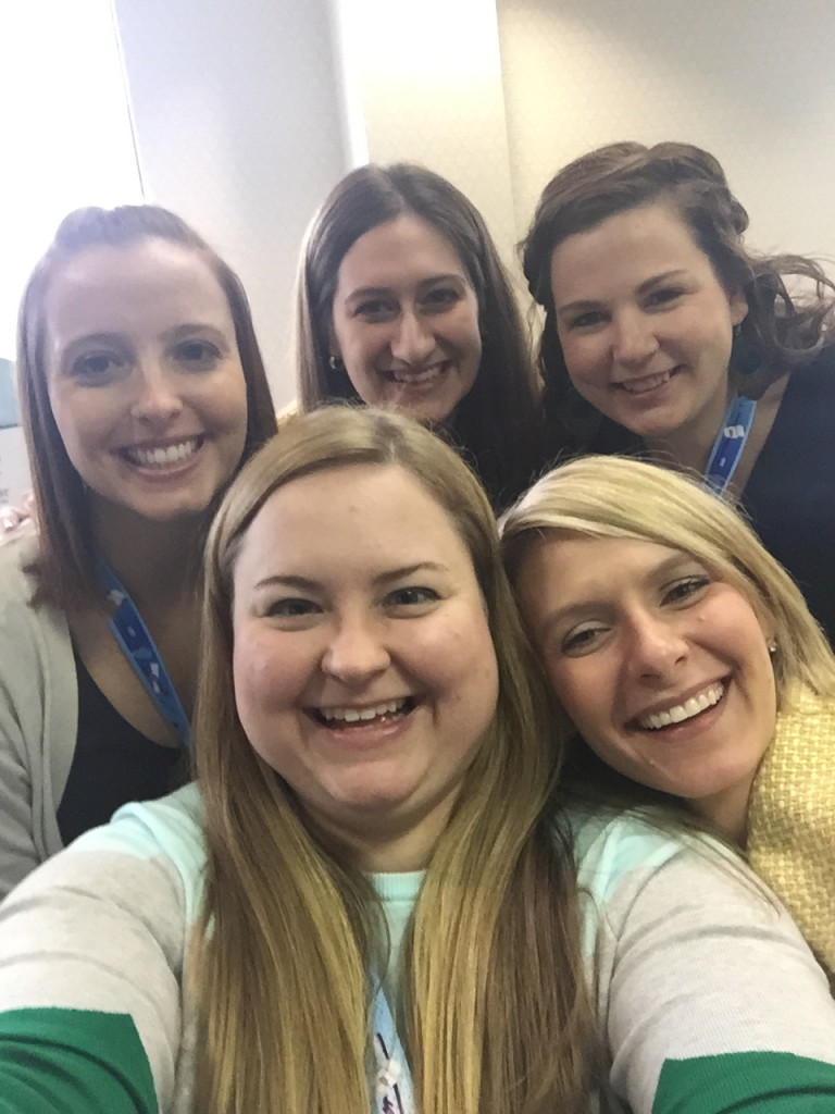 "Drs. Lauren Hood-Olson, Lindsey Yates (national NDC rep), Samantha Arnold, Kate Buskirk, Kylea Tibbs-Hnizdo take a group selfie during ISDS' annual ""The Event: Envision, Entice, Engage"" event held March 23."