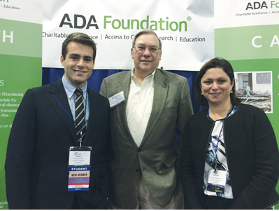 From left, Andres Alvarez, 2015 winner of the Dr. Ray Bowen Student Research Award, shares a moment March 12 with ADA Foundation Executive Director Gene Wurth and Mr. Alvarez's mentor, Dr. Marcelle Nascimento, during the International Association for Dental Research meeting in Boston.