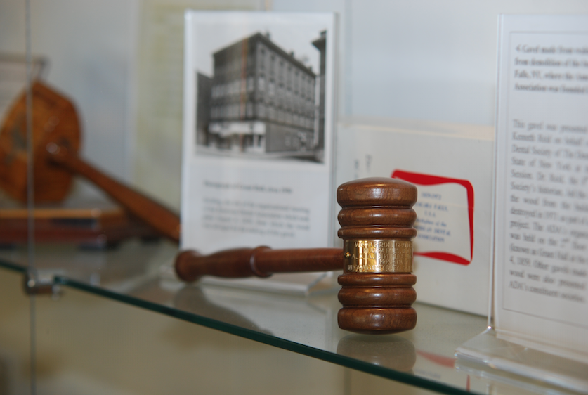 This gavel, displayed at the ADA Library & Archives at ADA Headquarters, was made from a wood salvaged from Grant Hall, the site of the Aug. 4, 1859, organizational meeting of the American Dental Association.