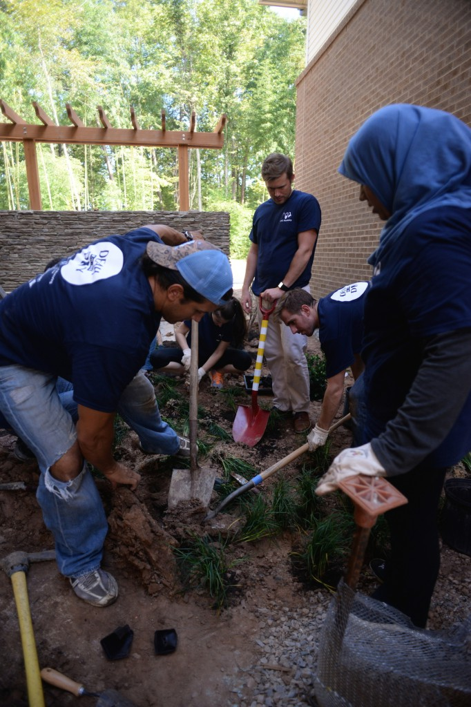 Green thumbs: University of North Carolina dental students work on a garden at the Ronald McDonald House in Chapel Hill, N.C., during DEAH DAY.