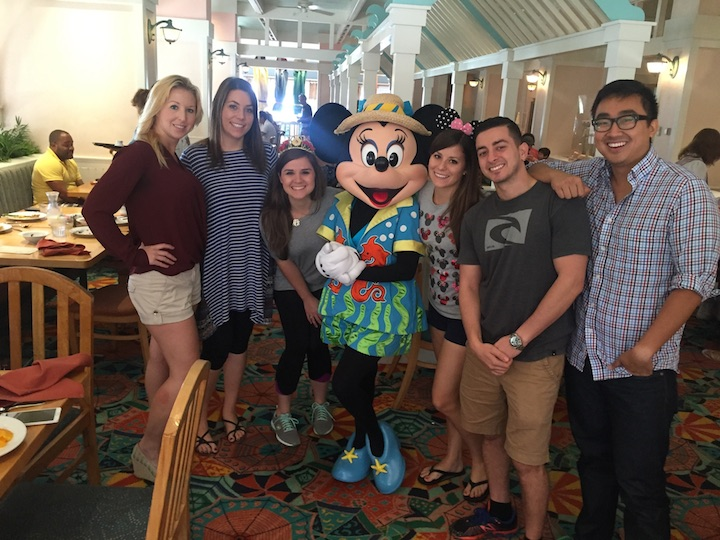 Character Brunch at Cape May Cafe at Disney World. From left, Dr. Christine Van Groesback, Dr. Hobart, ASDA Vice President Adrien Lewis, ASDA District 11 Trustee Laine Janzen, Dr. Kerolos Morkos and Dr. Daryn Lu.