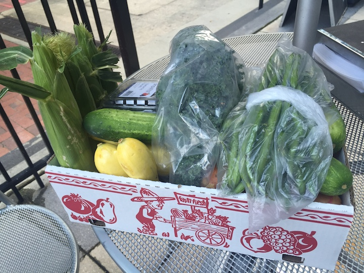 Build your own box of veggies from the farmer's market. As much as you can stuff in the box for $10.