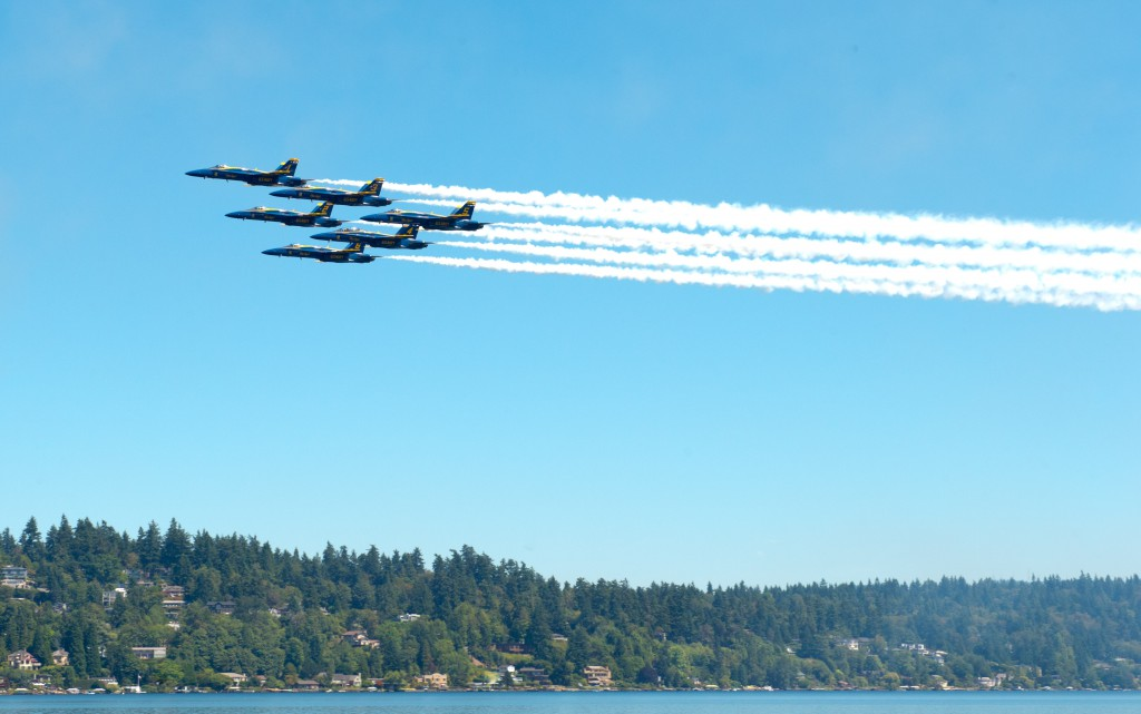 SEATTLE (July 31, 2015) U.S. Navy Flight Demonstration squadron, the Blue Angels, perform a Delta Flat Pass during the practice demonstration for the Seafair Air Show. The Blue Angels are scheduled to perform 68 demonstrations at 35 locations across the U.S. in 2015. (U.S. Navy photo by Mass Communication Specialist 2nd Class Andrea Perez/Released)
