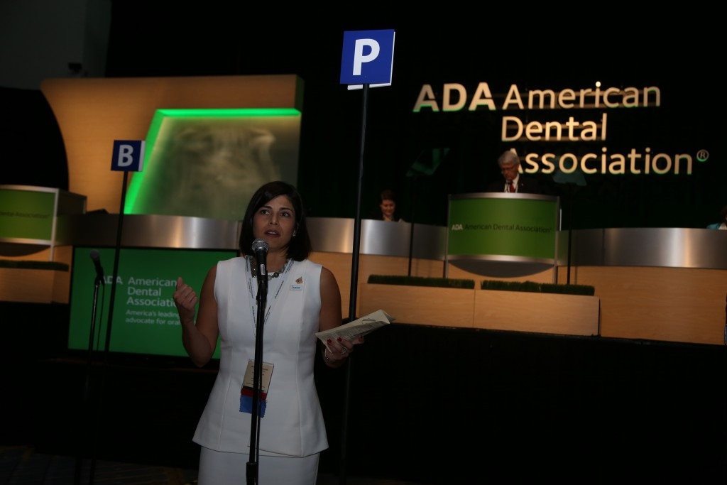 Dr. Irene Marron-Tarrazzi speaks during the ADA House of Delegates at ADA 2015.
