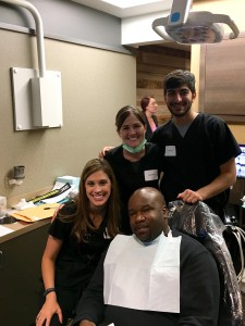Dr. Sowa treats a patient during the Greater Houston Dental Society's first Veterans Smile Day in November.