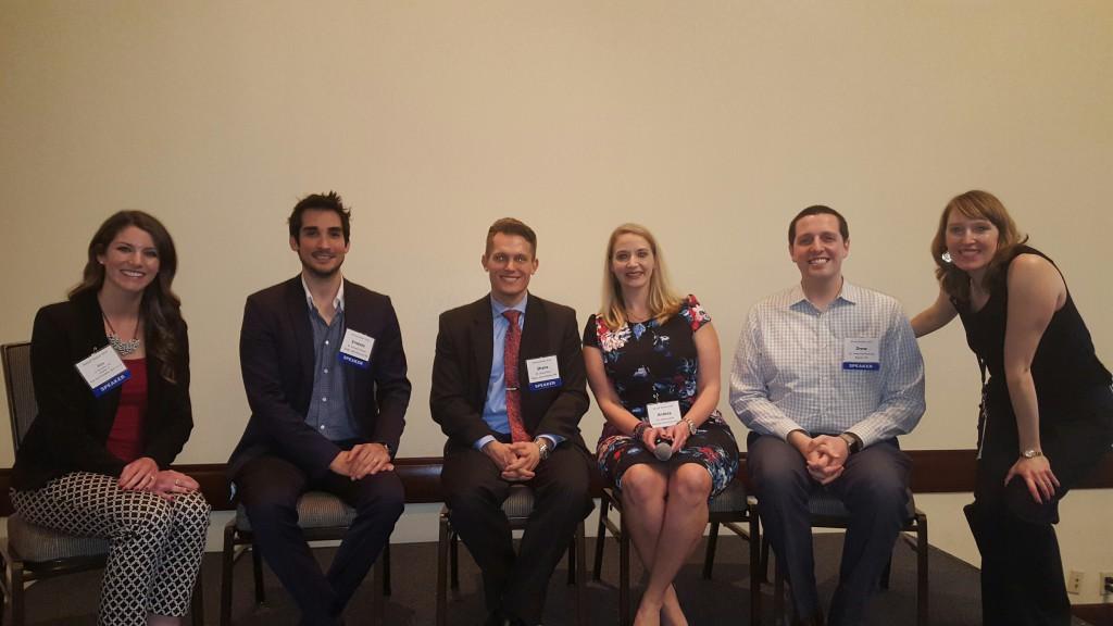 From left: Dr. Alex Barton, Virginia '13; Dr. Ernesto Trevino, San Antonio '06; Dr. Shane Ricci, San Antonio '06; Dr. Andrea Janik, Baylor '08; Dr. Drew Vanderbook, Baylor '12; Tera Lavick, ADA New Dentist Committee director.