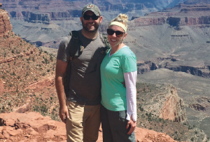 Dr. Brianna Hillier with her husband Ryan Catlett pose for a photo at the Grand Canyon National Park.
