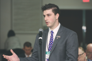 Student presence: Adam Patenaude, a third year dental student at Harvard School of Dental Medicine, asks ADA congressional staff about lobbying student loan legislation. Photo courtesy of Dr. Mark Bauman