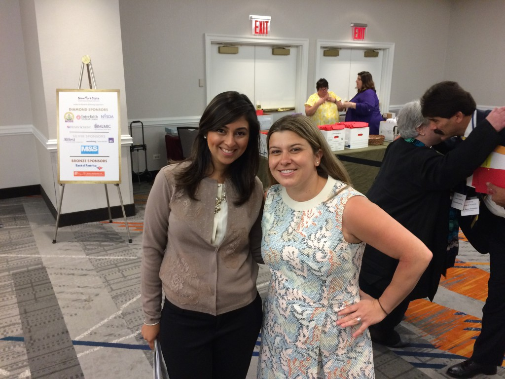 Mentor: Dr. Hemali Ajmera (left) poses for a photo with her mentor, Dr. Kendra Zappia, at this year's New York State Dental Association New Dentist Conference.