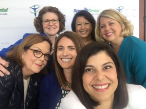 Dr. Irene Marron-Tarrazzi takes a selfie with a group of ADA leaders including Drs. Maxine Feinberg, former ADA president, Emily Ishkanian, ADA New Dentist Committee chair and Dr. Carol Gomez Summerhays, former ADA presidents.