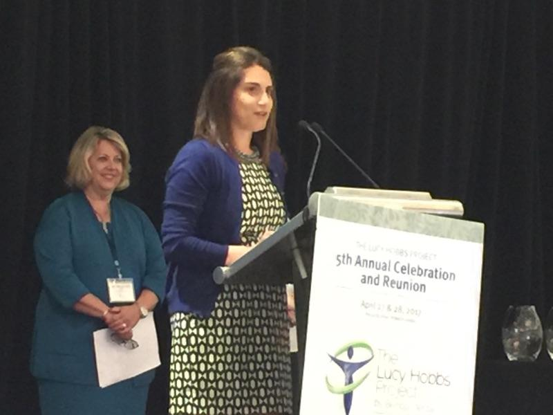 Dr. Emily Ishkanian, chair of the ADA New Dentist Committee, accepts the Mentor Award at the Lucy Hobbs Project 5th Annual Celebration.