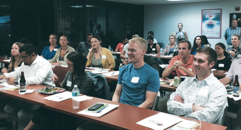 Together to learn: New dentists from around Colorado attend a study club sponsored by the Colorado Dental Association New Dentist Committee to learn about business matters.