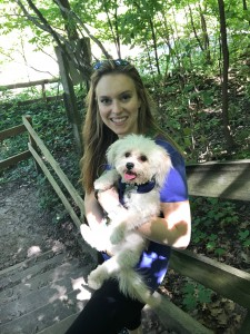 Dr. Monica Urda, a general dentist in Chicago, poses with her dog, Brad, at Starved Rock State Park.