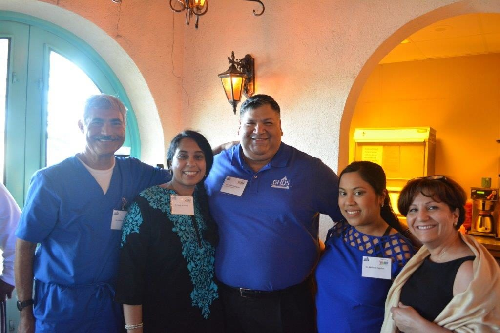 Diversity: From left, Drs. Akbar Ebrahimian, Gargi Mukherji, Victor Rodriguez, Michelle Aguilos Thompson and Maryam Tabrizi pose for photo during a Greater Houston Dental Society Diversity Committee event held May 25 in Houston. The Diversity Committee Fiesta event was one of the first social gatherings organized by the Diversity Committee, which Dr. Rodriguez, as GHDS president in 2016, helped create with the assistance of Dr. Thompson, a graduate of the ADA Institute for Diversity in Leadership.
