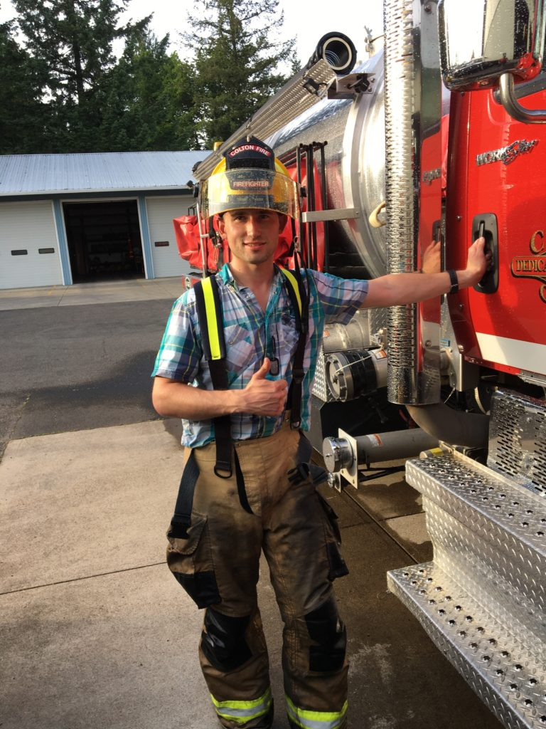 Photo of Dr. Norlin as a volunteer firefighter